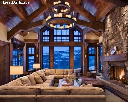 гостиная с панорамным окном в стиле шале