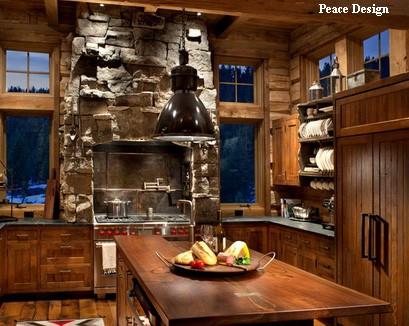 стиль шале в кухне