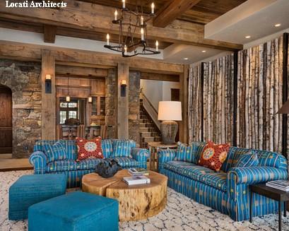 современные тенденции стиля шале в гостиной