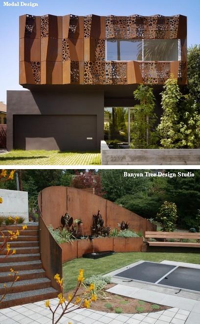 использование стали кортен в архитектуре