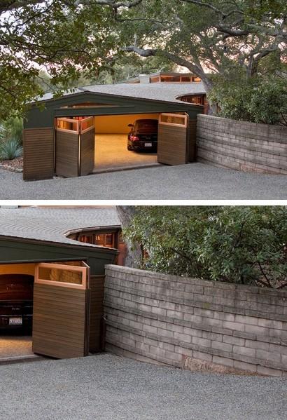 гараж и каменный забор