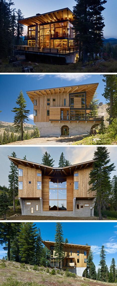 трехэтажный дом на склоне