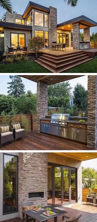 палуба с летней кухней и навесом