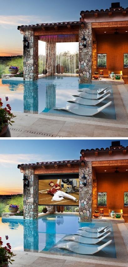 бассейн с водопадом и домашним кинотеатром