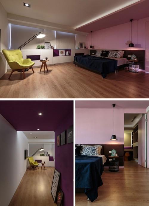 дизайн спальни со встроенной мебелью под окном