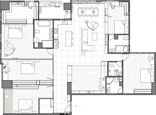 план квартиры с 5 спальнями и 5 ванными