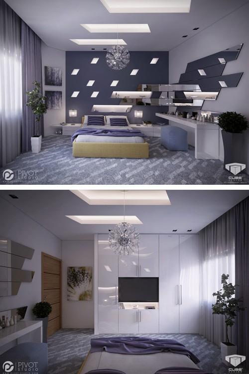 спальня с зеркальным декором