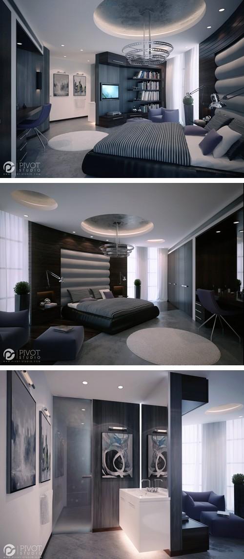 дизайн спальни с овальной стеной