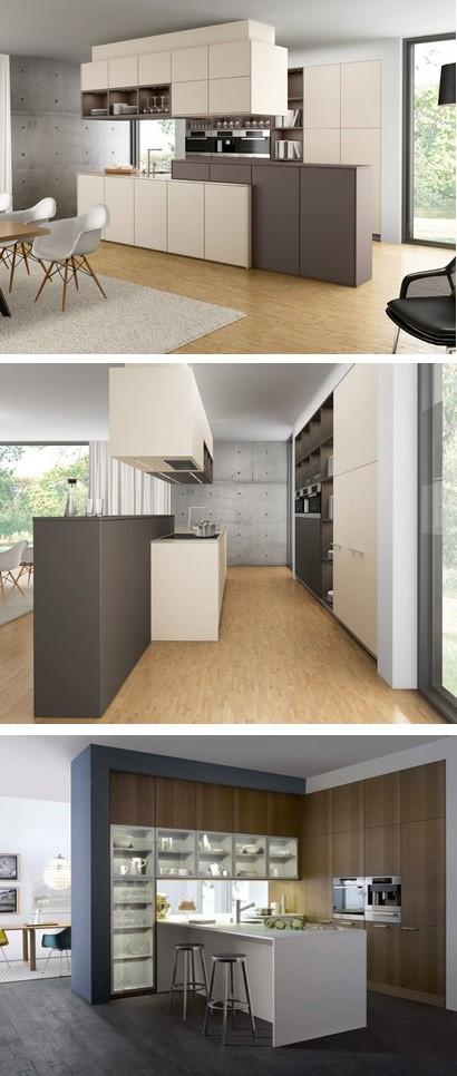 подвесные шкафы в интерьере открытой кухни