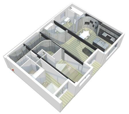 план квартиры с закругленными перегородками