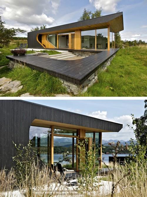 стильный деревянный фасад