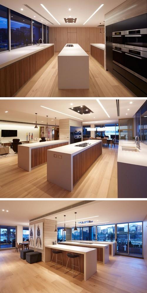 просторная кухня в минималистском стиле