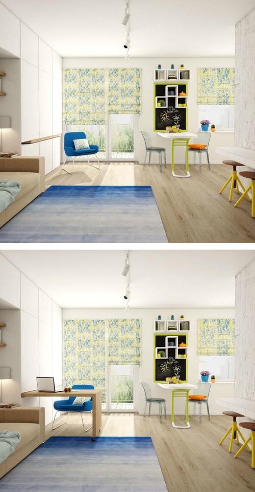 поворотный встроенный стол для маленькой квартиры