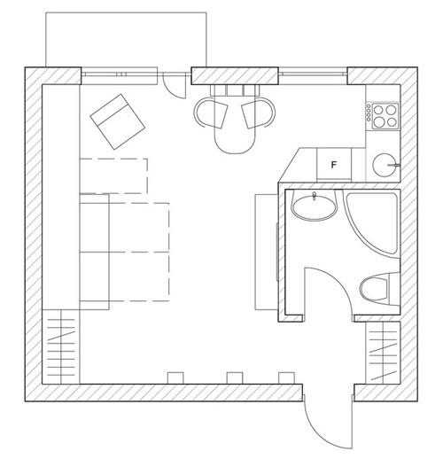 планировка студии 35 м2