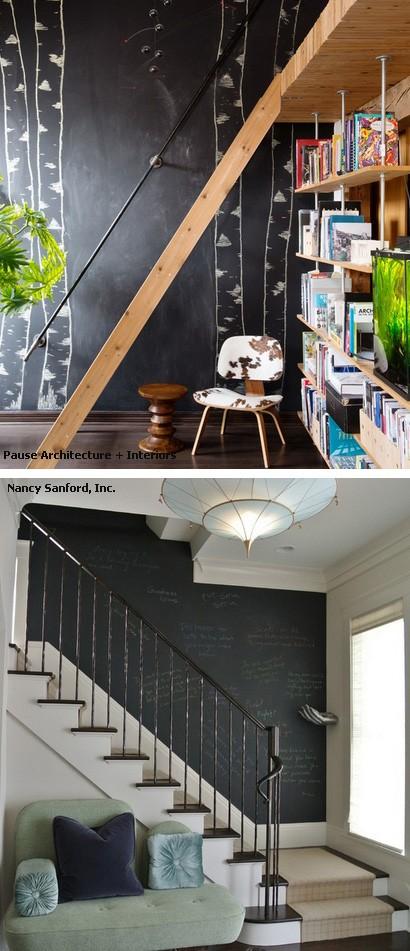 грифельные стены на лестнице