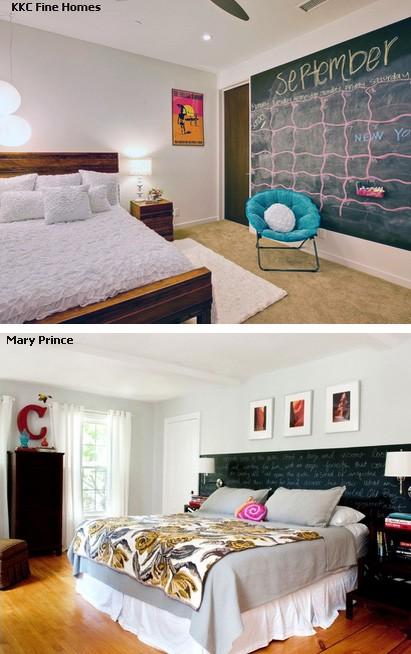 меловые доски в интерьере спальни