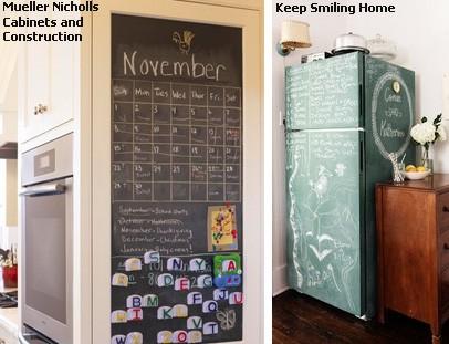 грифельные фасады кухонной мебели и холодильника