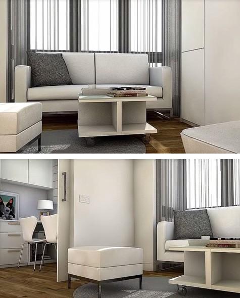 зона отдыха в маленькой квартире