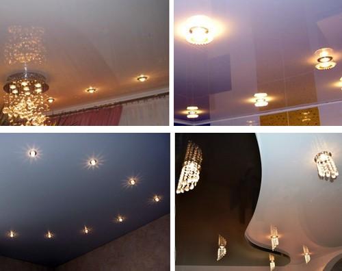 встроенные точечные светильники в натяжном потолке