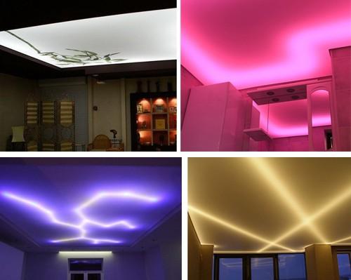 монтаж светодиодной ленты над натяжным потолком