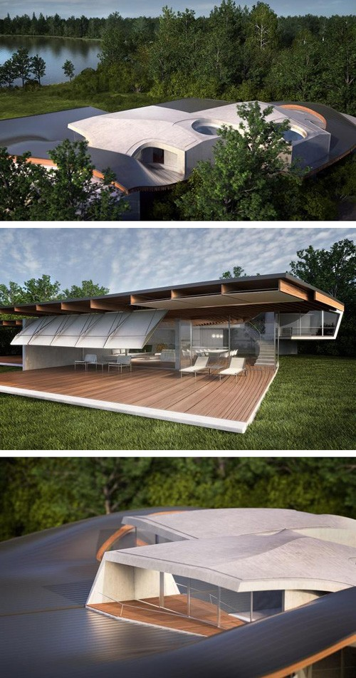 летний дом с крышей волнообразной геометрии