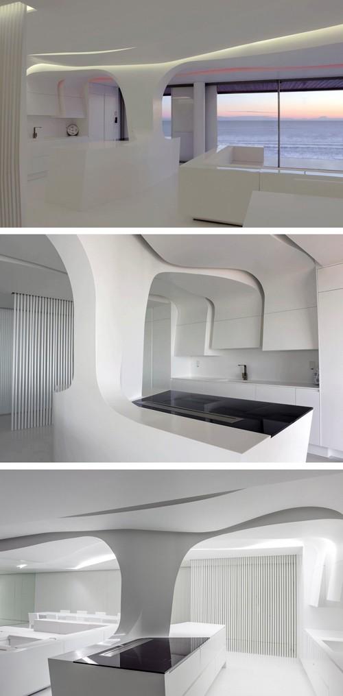 скульптурная белая кухня