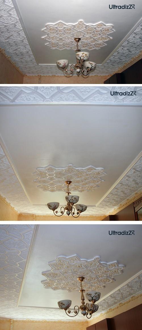 клеевой плафон под люстру на потолке