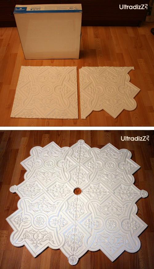 как сделать плафон из потолочной плитки