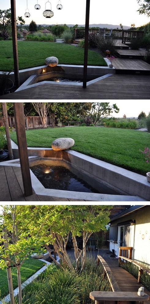 система террас палуб на заднем дворе частного дома