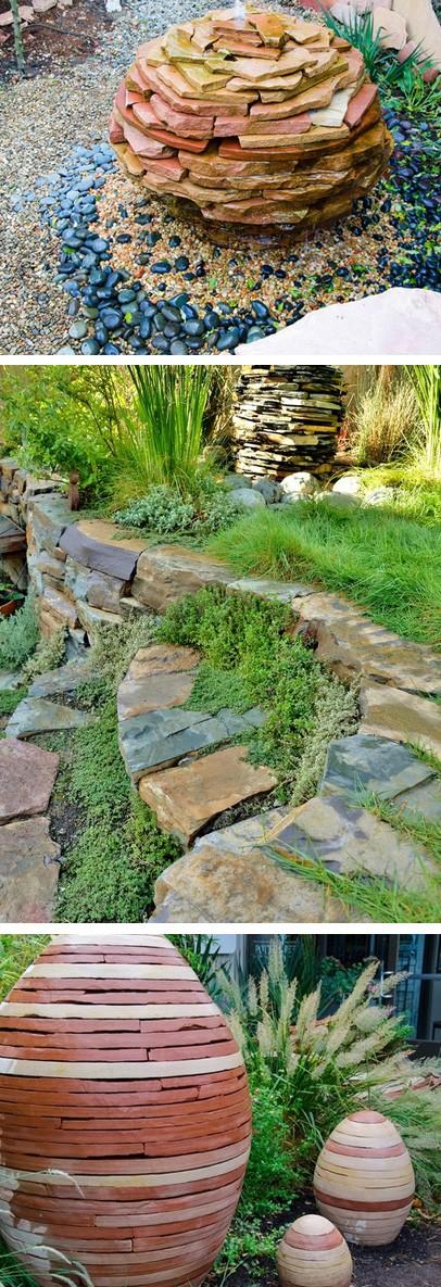 садовые фонтаны и скульптуры из плитняка