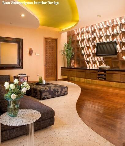 комбинированный пол в современной гостиной