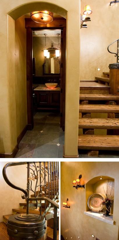 лестница под старину с современной подсветкой