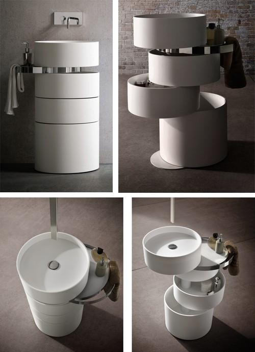 оригинальная раковина для ванной с поворотными ящиками