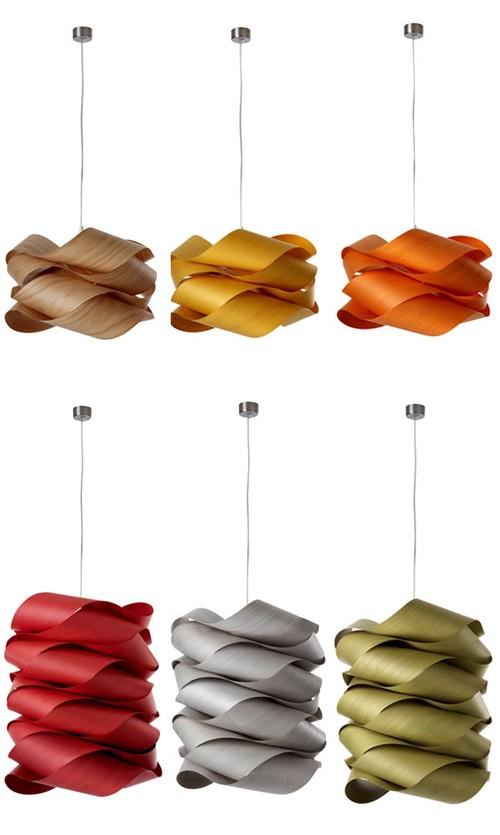 искривленная форма и цветовые варианты фанерных светильников