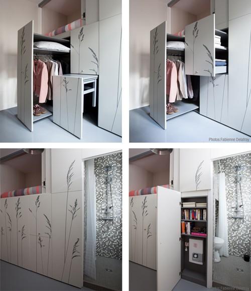 встроенный шкаф с выдвижными отделениями