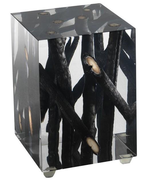акриловый боковой столик с обожженными ветками