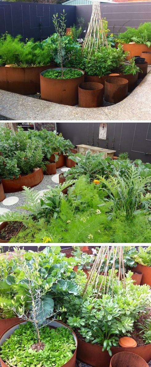 высокие огородные грядки в проекте японского сада
