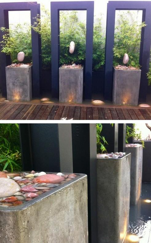 фонтаны и камни в современном японском саду