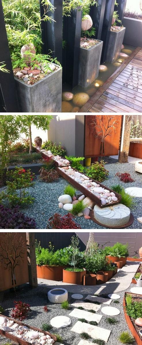 японский сад с современными элементами