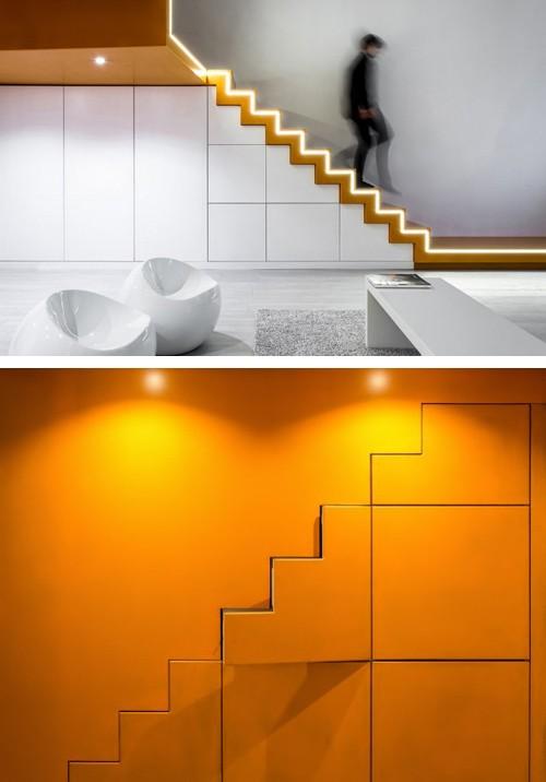 встроенные шкафы на лестнице