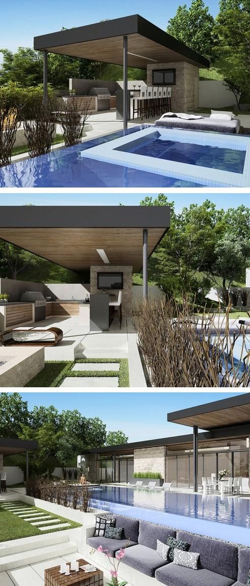 мощеный двор с бассейном