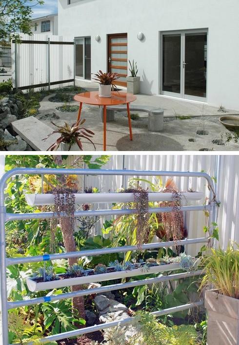 дизайн двора с бетонным покрытием