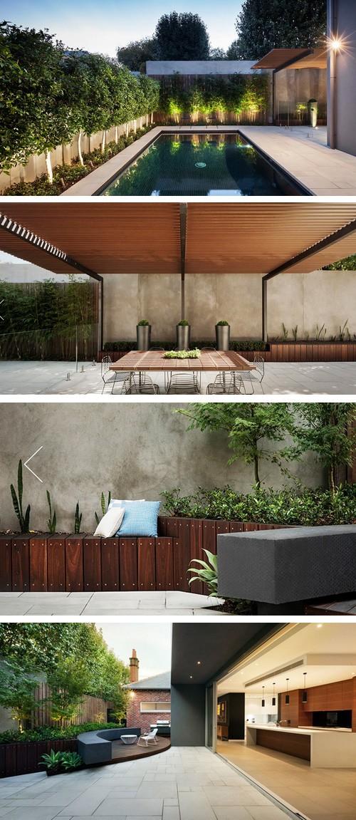 мощеный плиткой двор современного стиля