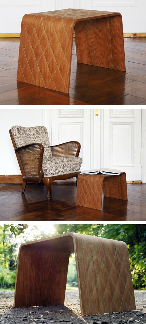 гнутая стеганая мебель из материала честер