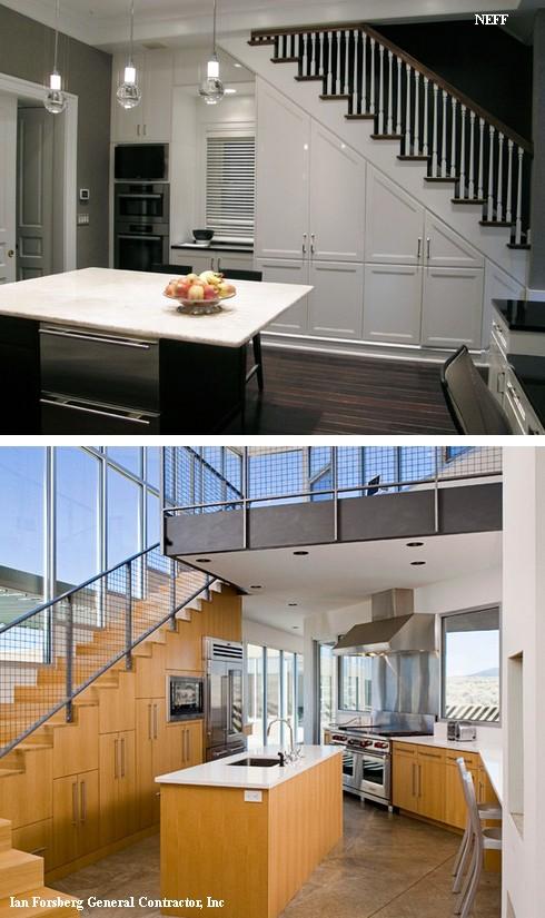 большие кухни под лестницей