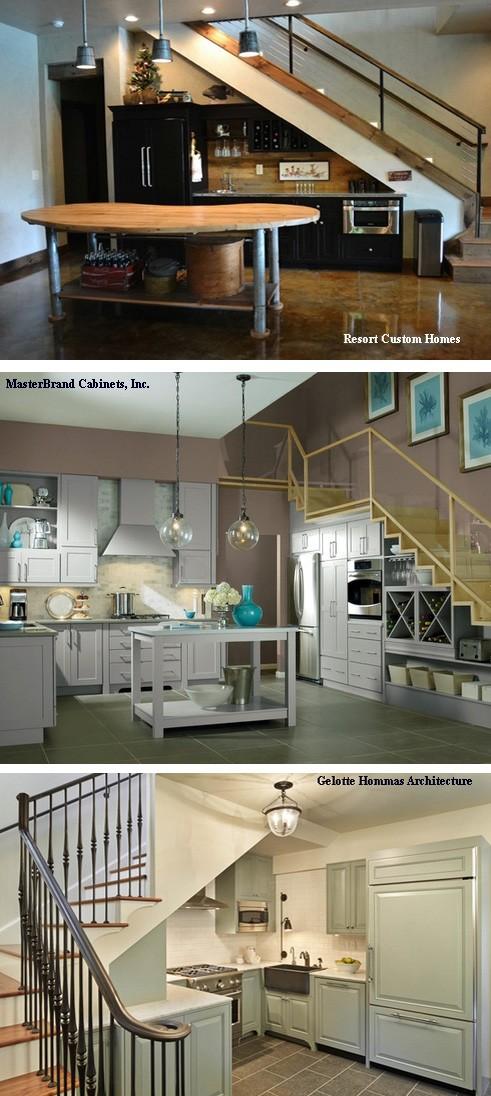варианты дизайна кухни под лестничными пролетами