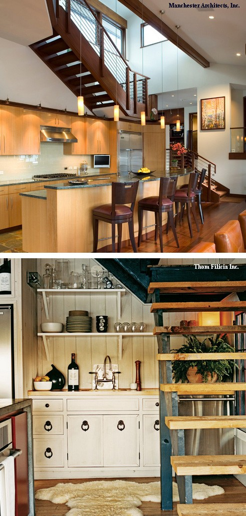 кухни под лестницами без подступенков