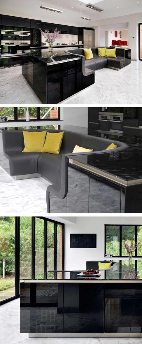 кухонный остров с интегрированным кожаным диваном
