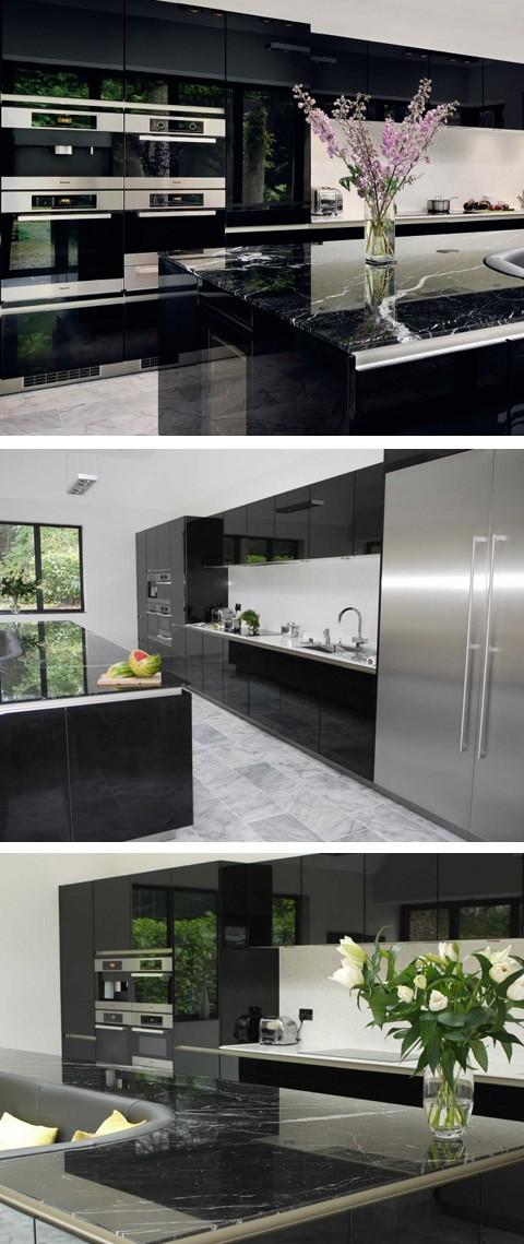 черная глянцевая кухня со встроенной техникой