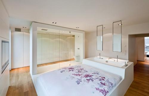 спальня ванная на общем подиуме